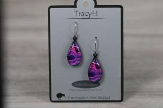TracyH Earring  Teardrop Landscapes Purple