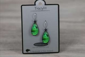 TracyH Earring  Teardrop Landscapes Green