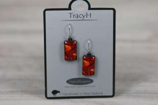 TracyH Earring Rect Short Reflection Orange