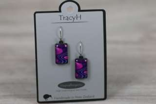 TracyH Earring Rect Short Reflection Purple
