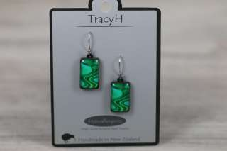 TracyH Earring Rect Short Reflection Turq