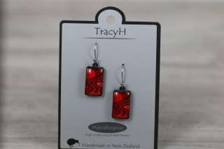 TracyH Earring Rect Short Reflection Red