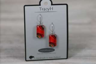 TracyH Earring Clear Rect Ribbon Red
