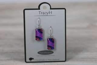 TracyH Earring Clear Rect Ribbon Purple