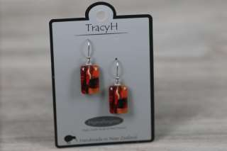 TracyH Earring Clear Rect Short Foil Red
