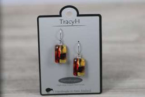 TracyH Earring Rect Short Foil Orange