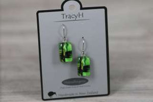 TracyH Earring Rect Short Foil Green