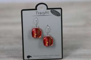TracyH Earring Square Foil Dots Red