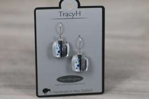TracyH Earring Square Foil Dots White Black