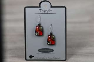 TracyH Earring Trapeze Two Waves Red