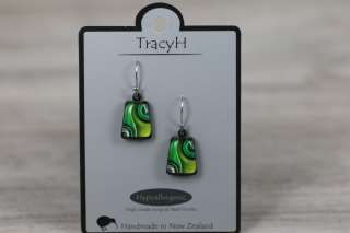 TracyH Earring Trapeze Two Waves Green