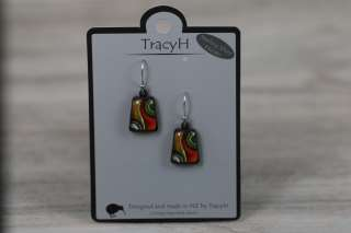 TracyH Earring Trapeze Two Waves Orange