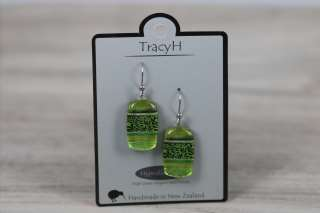 TracyH Earring Rect Leaf Green