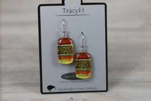 TracyH Earring Rect Leaf Orange