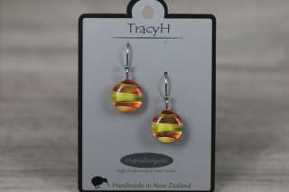 TracyH Earring Round Stripes Orange