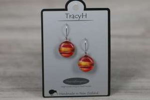 TracyH Earring Round Foil Stripes Red
