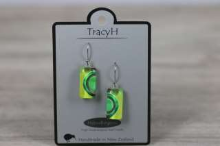 TracyH Earring Short Rect 1 Circle Green