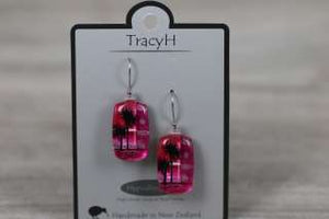 TracyH Earring Rect Cabbage  Pink