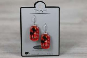 TracyH Earring Rect Cabbage Red