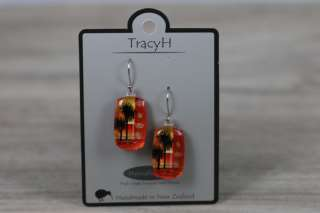 TracyH Earring Rect Cabbage Orange