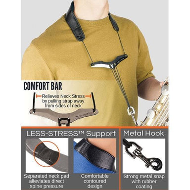 "Protec - Leather ""Less-Stress"" Saxophone Neck Strap with Deluxe Metal Trigger Snap & Comfort Bar-Accessories-Protec-Music Elements"