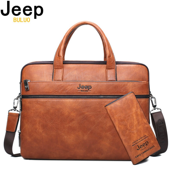 JEEP BULUO Leather Laptop Briefcase Bags/ Shoulder Bags for 14
