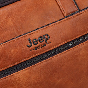 "JEEP BULUO Leather Laptop Briefcase Bags/ Shoulder Bags for 14""  laptop/ MacBook/ notebook 2Pcs Set"