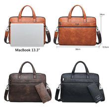 "Load image into Gallery viewer, JEEP BULUO Leather Laptop Briefcase Bags/ Shoulder Bags for 14""  laptop/ MacBook/ notebook 2Pcs Set"