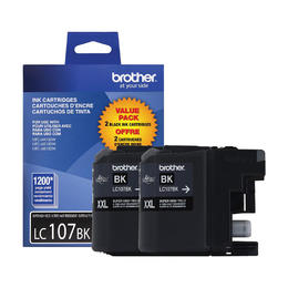 LC1072PKS XXL Brother Original (OEM) 2 Pack Super High Yield (XXL) Black Inkjet Cartridges