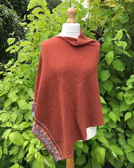 Burnt orange merino wool poncho