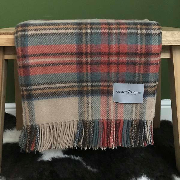 Antique Dress Stewart Tartan Wool Throw