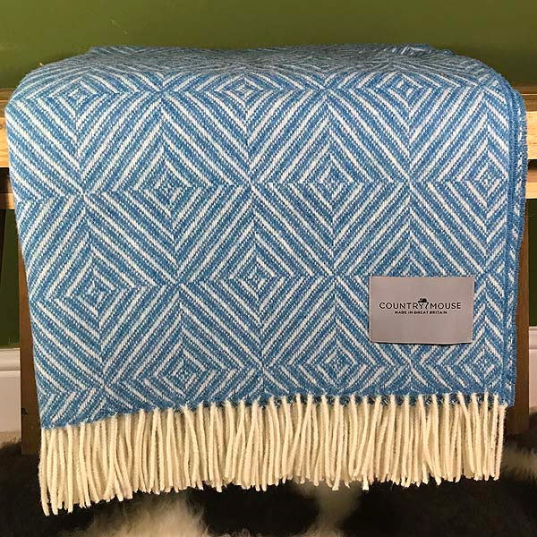 Aqua diamond merino wool throw