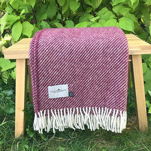 Load image into Gallery viewer, Berry Stripe Wool Blanket
