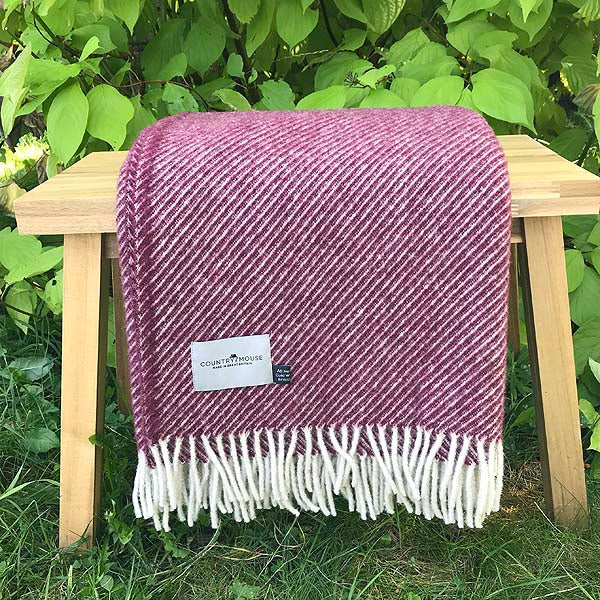 Berry Stripe Wool Blanket