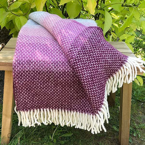 Country Mouse Berry Wave Pure Wool Throw Folded