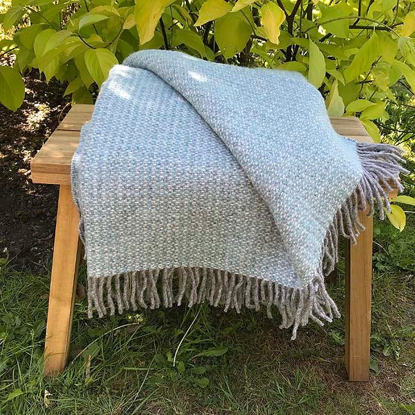 Blue Cobble Wool Throw Folded