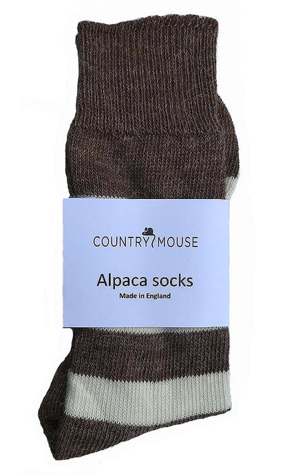 Brown and Cream Striped Alpaca socks