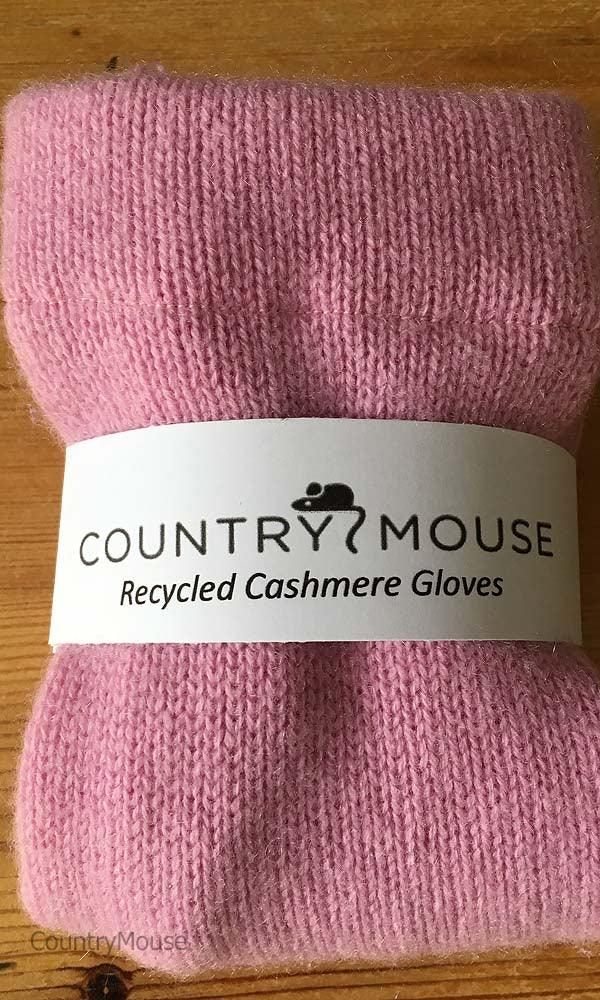 Pink recycled fingerless cashmere gloves