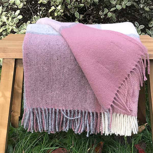 Charcoal and dusty pink throw