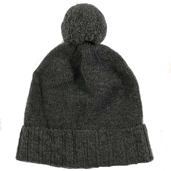 Charcoal pure cashmere bobble hat