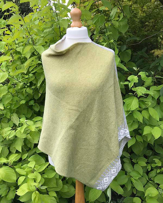 Merino Poncho Citrus and Grey front