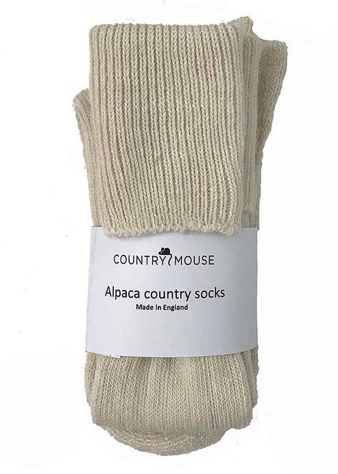 Cream alpaca country socks