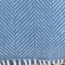 Load image into Gallery viewer, Aqua Herringbone Pure New Wool Throw detail