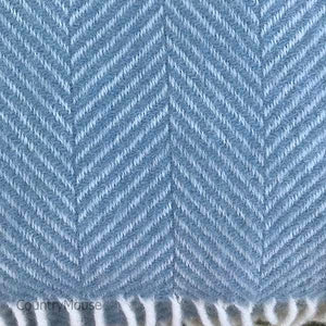 Duck Egg Herringbone Pure New Wool Throw detail
