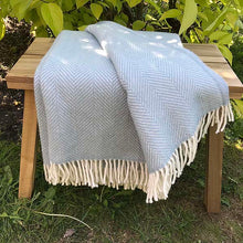 Load image into Gallery viewer, Aqua Herringbone Pure New Wool Throw folded