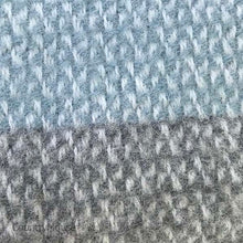 Load image into Gallery viewer, Aqua and Grey Panel Pure New Wool Throw detail