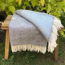 Load image into Gallery viewer, Aqua and Grey Panel Pure New Wool Throw folded