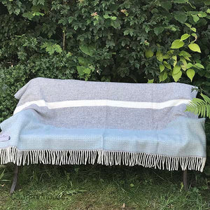 Aqua and Grey Panel Pure New Wool Throw open