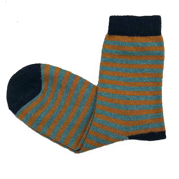 Short Wool Ginger Stripe Socks