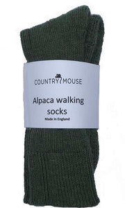 Green alpaca walking socks